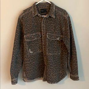 Zara Denim leopard print shirt